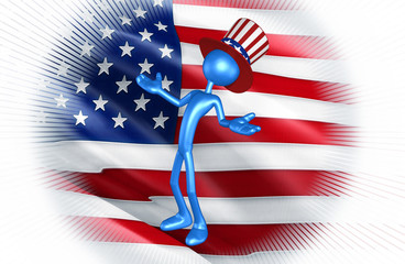 The Original 3D Character Illustration Wearing An Uncle Sam Hat