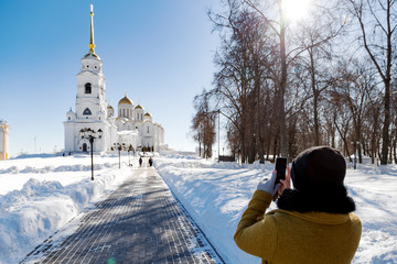 Dormition Cathedral. Famous landmark church in Vladimir city, Russia at winter
