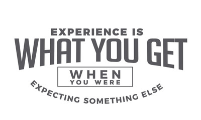 experience is what you get when you were expecting something else