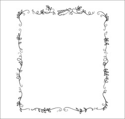 large frame one-line drawn ornament peas and leaves