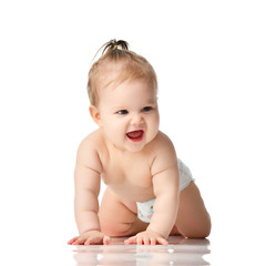 Infant child boy toddler learning crawling happy smiling
