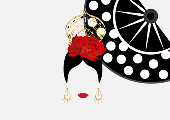Vector Portrait of traditional Latin or Spanish woman dancer Lady with golden accessories peineta, gold earrings and red flower , Flamenco Icon with traditional hand fan. Isolated or white background