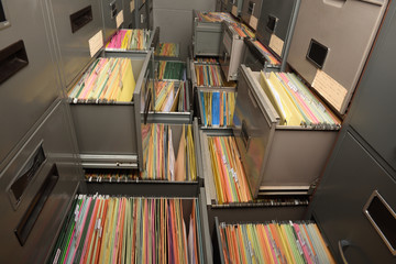 Important documents arranged in a file placed in a filing cabinet. Wall mural