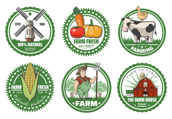 Vector set of farm fresh logotypes. Organic premium quality products emlem badges collection. Eco food signs. agricultural equipment labels.