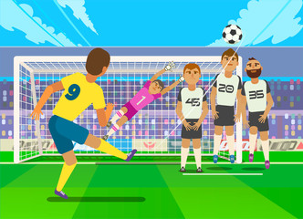 Football player kicking penalty. Vector illustration of football player kicking penalty to gate of opposite team.