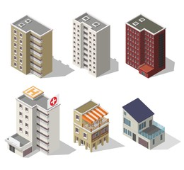 Big set low poly vectors of isometric illustration city street house facades, cafe, apartment, hospital.