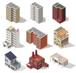 Big set low poly vectors of isometric illustration city street house facades, factory, cafe, school, hospital.
