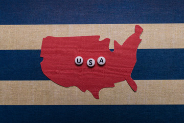 USA Fourth of July 4th holiday original paper cutout art poster card