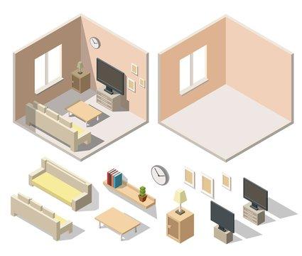 Home cinema room low poly interior isometric set