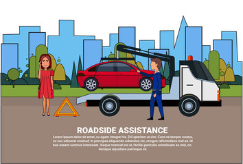 Roadside Assistance Towing Broken Car Over Driver Woman Calling In Insurance Service Flat Vector Illustration