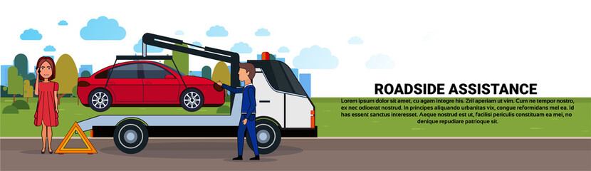 Roadside Assistance Towing Broken Car Over Driver Woman Calling In Insurance Service Horizontal Banner Flat Vector Illustration