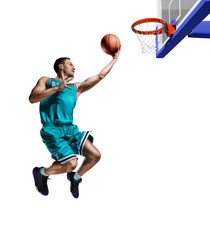 male basketball player jumping to the basket isolated on white