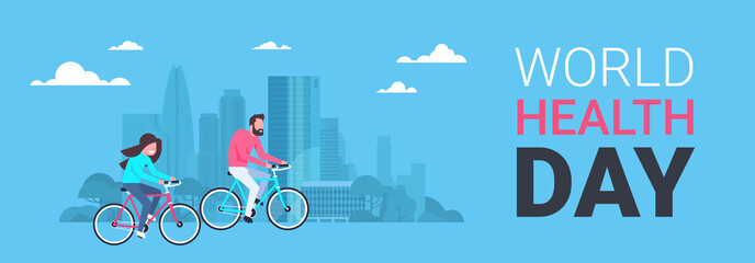 World Health Day Poster With Couple Riding Bike Over Silhouette City Background Healthcare Holiday Horizontal Banner Flat Vector Illustration