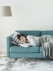 Woman sleeping on the sofa