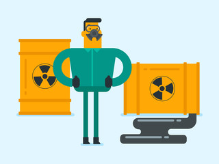 Caucasian white man in respirator and radiation protective suit standing on the background of leaking barrel with radiation sign. Biohazard concept. Vector cartoon illustration. Horizontal layout.