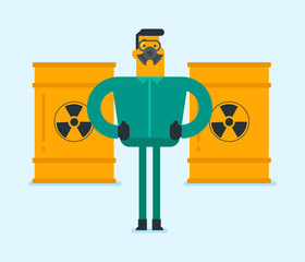 Caucasian white man in respirator and radiation protective suit standing on the background of barrel with radioactive liquid. Nuclear contamination and biohazard concept. Vector cartoon illustration.