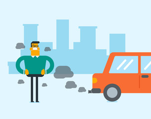Young caucasian white man in gas mask standing next to the car with co2 emissions. Man wearing mask to reduce the effect of traffic pollution. Toxic air pollution concept. Vector cartoon illustration.