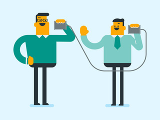 Two caucasian white men listen each other using tin can telephone and discussing confidential information. Friends have a talk through a tin can phone. Vector cartoon illustration. Horizontal layout.