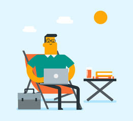Caucasian white business man working on a laptop on the beach. Young businessman sitting in chaise lounge and using a laptop during vacation on the beach. Vector cartoon illustration. Square layout.