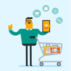 Young caucasian white man showing tablet computer with a cart on the screen. Man using tablet for online shopping. Concept of ecommerce and online shopping. Vector cartoon illustration. Square layout.