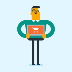 Young caucasian white man holding a laptop computer with a shopping cart on the screen. Happy man using laptop for online shopping. Guy buying on internet. Vector cartoon illustration. Square layout.