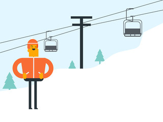 Caucasian white man in helmet standing on the background of ski lift with chair in the mountains. Young skier using cableway at winter ski resort. Winter sport concept. Vector cartoon illustration.