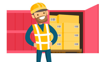 Young caucasian white delivery man checking parcel with the list in clipboard. Man preparing parcel box for dispatch in warehouse. Business service concept. Vector cartoon illustration. Square layout.