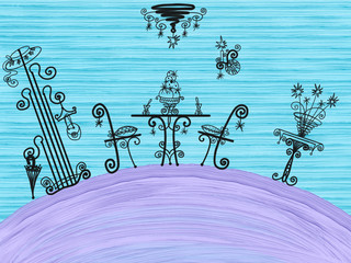 Colorful silhouette of hand drawn classy chandelier with table set with food, hall furniture and chairs on blue oil background, painted illustration of home decor interior on stand, high quality