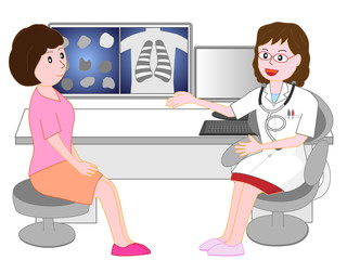 病院で女性医師から診察を受けている患者。