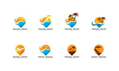 Set of Point Travel logo designs concept vector, Beach and ocean logo template