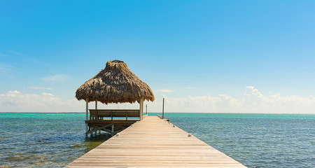 Pier with Thatch Cabana