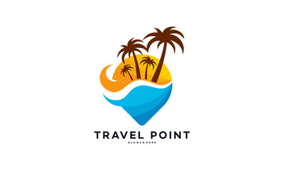 Travel Point Logo with Palm Trees symbol, Beach logo designs concept vector