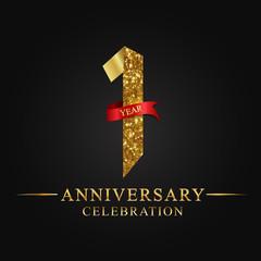 anniversary, aniversary, 1 year anniversary celebration logotype. Logo,ribbon golden number on black background.Numbers ribbon gold.