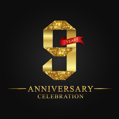 anniversary, aniversary, 9 years anniversary celebration logotype. Logo,ribbon golden number on black background.Numbers ribbon gold.