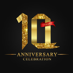 anniversary, aniversary, 10 years anniversary celebration logotype. Logo,ribbon golden number on black background.Numbers ribbon gold.