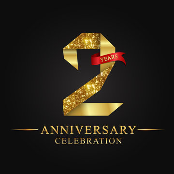 anniversary, aniversary, 2 years anniversary celebration logotype. Logo,ribbon golden number on black background.Numbers ribbon gold.