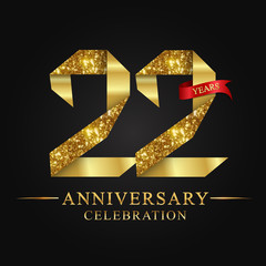 anniversary, aniversary, 22 years anniversary celebration logotype. Logo,ribbon golden number on black background.Numbers ribbon gold.