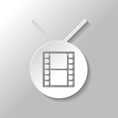 circle tv with movie strip icon. Paper style with shadow on gray background