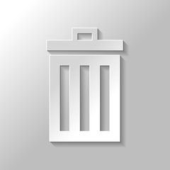 trash bin. simple icon. Paper style with shadow on gray background