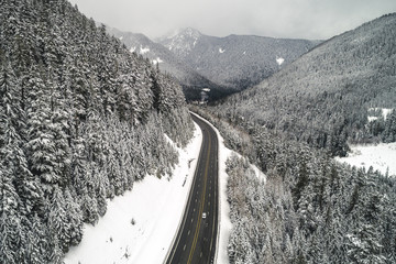 Beautiful Snowy Mountain Road Landscape Scenic Route