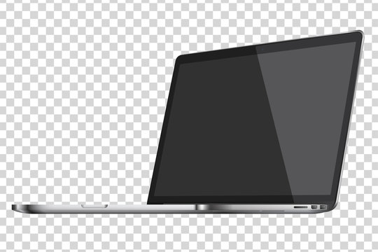 Modern glossy laptop isolated on transparent background. Vector illustration.