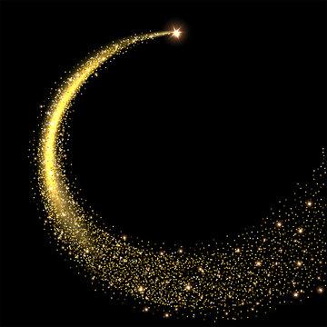 Golden sparkling star with stardust trail. Vector illustration.