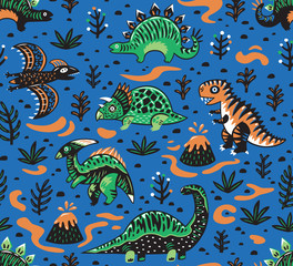 Cute cartoon dinosaurs seamless pattern in red, green and blue colors. Vector illustration