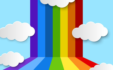 Background design with rainbow and blue sky