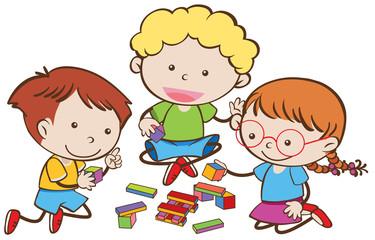 Three kids playing blocks