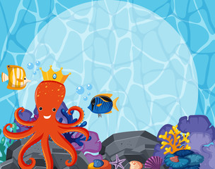 Background design with octopus and fish underwater