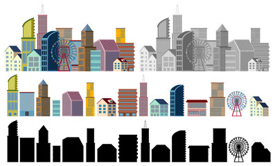 Different designs of buildings on white background
