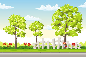 Wall Mural - Summer landscape with trees and flowers