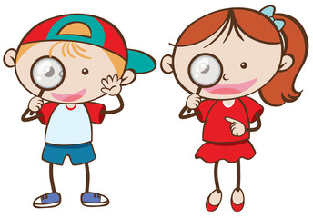 Boy and girl holding magnifying glass