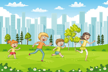 Wall Mural - Some children are running through a park